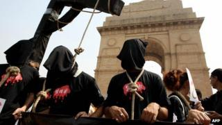 File photo of an anti-death penalty campaign by Amnesty International