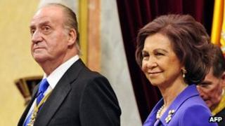 Spain's King Juan Carlos and Queen Sofia, 27 Dec 11