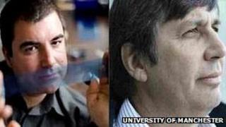 Profs Konstantin Novoselov (left) and Andre Geim (Image: University of Manchester)