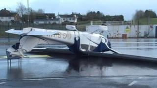 Overturned plane at St Angelo Airport in County Fermanagh