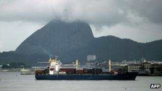 A cargo ship entering Rio de Janeiro's Guanabara Bay