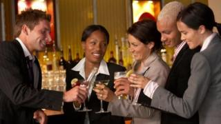 Business people drinking