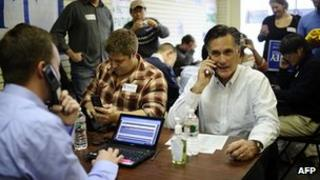 Mitt Romney at a campaign office in Manchester, New Hampshire