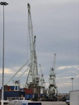St Peter Port Harbour cranes