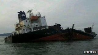 The damaged South Korean ship. Photo: 15 January 2012