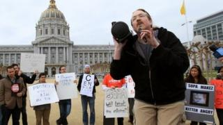 Anti-piracy law protesters in San Francisco
