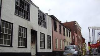 Fire damaged homes in West Street, Harwich