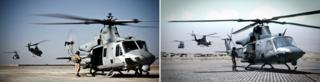 A flight from USMC 'Scarface' squadron takes off from Camp Bastion for close air support mission over Helmand province, Afghanistan by John Cantlie (left) Still from the game Arma 2 (right)
