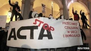 Acta protesters in Poland