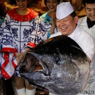 Bluefin tuna and chef