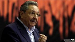 Cuban President Raul Castro addressing the Communist Party conference in Havana