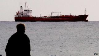Cargo ship moored off Limassol on 11 January 2012, believed to be carrying arms from Russia to Syria