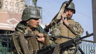 Afghan soldiers on patrol in Jalalabad, Afghanistan 26 January 2012