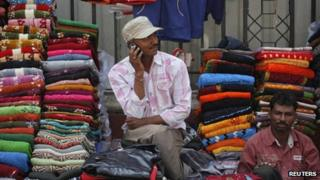 Indian man on a mobile (February 2012)