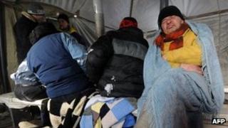 Homeless men in a shelter in Kiev, Ukraine (3 Feb 2012)