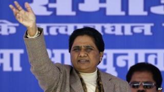 Mayawati addressing a rally in Sitapur