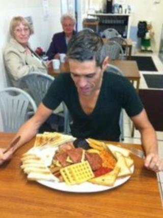Robert Pinto about to eat the Hungry Hossee big breakfast. Photo: Robert Pinto
