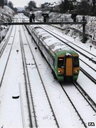 Snow on train tracks
