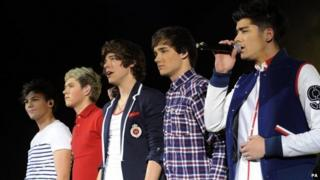 One Direction performing in London
