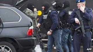 Armed Dutch police at Amsterdam's Schiphol airport