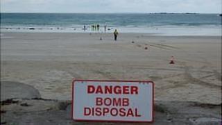 Attempt to remove two World War II German anti-tank mines at Pembroke Bay