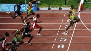 Usain Bolt wins the men's 100m finals at the 2008 Olympics in Beijing