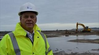 Gerry Prickett at Longue Hougue where work on a temporary dock has begun