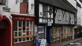 Shops boarded up in Ashbourne