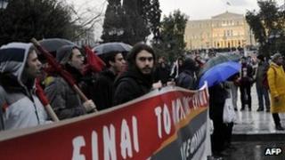 Demonstrators against Greek austerity measures on 22 February 2012