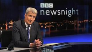 Jeremy Paxman on the set of Newsnight
