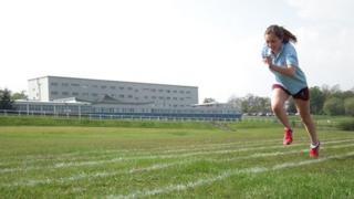 School Reporter shows off her running skills