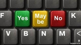 Close-up of computer keyboard keys bearing the words 'Yes', 'Maybe' or 'No' (left to right)