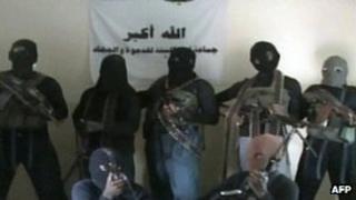 Video grab from video allegedly showing members of Nigerian Islamist group Boko Haram in northern Nigeria