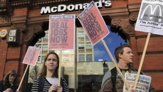 Protesters outside McDonald's