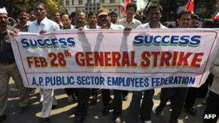 Striking workers in Hyderabad, India - 28 February 2012