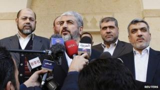 Hamas political leader Khaled Meshaal and his aides in Amman (29 January 2012)