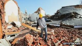 A church is razed to the ground in the town of Ridgeway, Illinois, after a series of tornadoes ripped across the US Midwest 1 March 2012