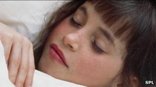 Child asleep - posed by model