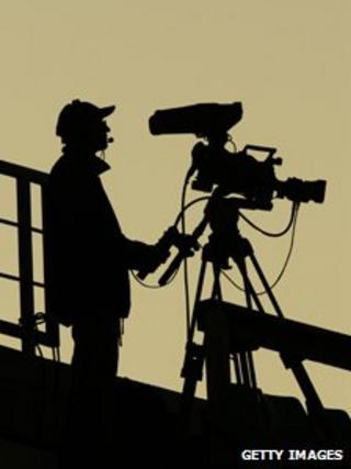 TV cameraman in action in Tallin