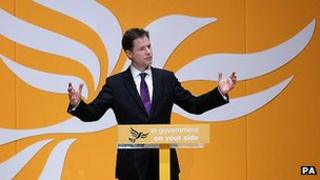 Nick Clegg addressing delegates at his party's spring conference