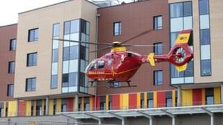 Helicopter landing at University Hospital of North Staffordshire