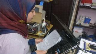 School Reporter Faten reads her report in Beirut