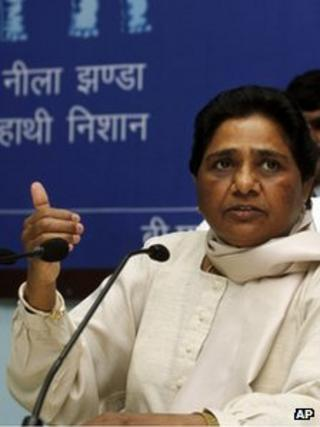 Mayawati addresses a press conference in Lucknow on 7 March 2012