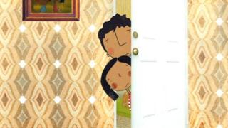 A cartoon living room scene. Two children peer from behind a door. They look upset.