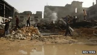 Damaged building after Israeli air strike in Gaza City
