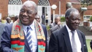 Former Zambian president Rupiah Banda and current President Michael Sata