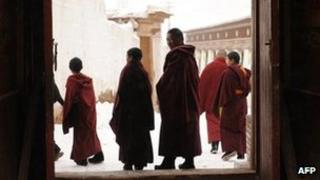 In this picture taken on March 9, 2012 Tibetan monks leave after taking part in a ceremony at Lajia Monastery in China's northwest Qinghai province (file photo)