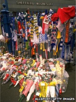 Fan tributes at Hillsborough in 1989