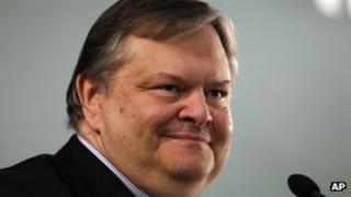 Greece's finance minister Evangelos Venizelos in Athens on 10 March 2012