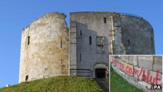 Clifford's Tower with graffiti (inset)
